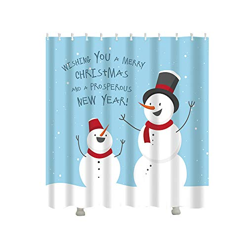 Christmas Gift Boxes In Snow Bathroom Shower Curtain Waterproof Fabric &12 Hooks
