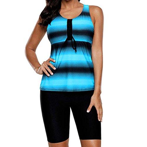 Overdose Farbverlauf Drucken Damen Übergröße Bikinis Tankini Swim Kleid Badeanzug Beachwear gepolsterte Bademode Frauen Plus Size Beachwear Badeanzüge Bikini Set(C-blau,EU40)