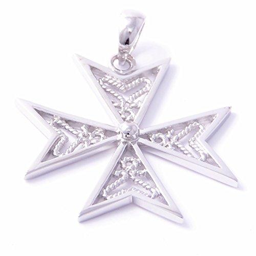 discounted-sterling-silver-925-amalfi-malta-maltese-cross-filigree-pendant