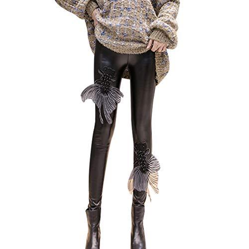 Hibote Punk Gothic Mujeres PU Pantalones Cuero Costura Bordado Lentejuelas Cintura Alta Elástico Flaco PU Pantalones Leggings