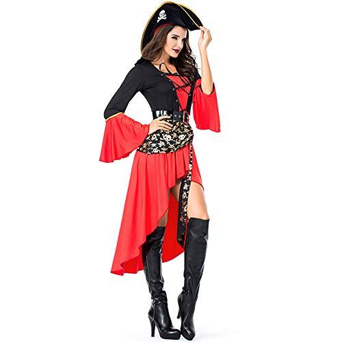 FENGT Halloween Women Es Rötlich Schwarzes Skelett Piraten Skelett Kostüm Export Spiel Uniform Cosplay,M
