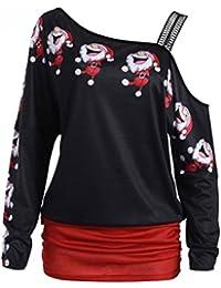 Christmas Tops, Christmas Pullover Jumper, TUDUZ Womens Christmas Off Shoulder Print Tops Long Sleeve Off Shoulder Long Blouse Shirt Tops