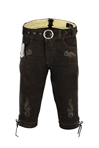 SHAMZEE Trachten lederhose Knielang inklusive Gürtel aus Echtleder in Braun farbe für Damen und Herren (50, Braun)