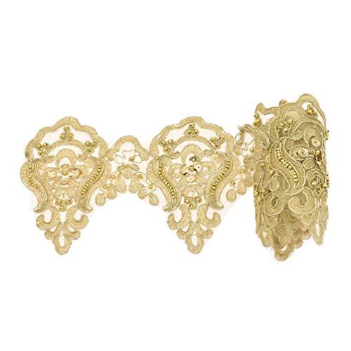 Kesheng 1 Yard Spitzenband Spitzenborte mit Pailletten Perlen Golden Weiß Breit