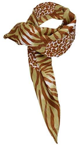Halstuch braun beige weiß Zebramuster und Leopardenmuster - Gr. 100 x 100 cm