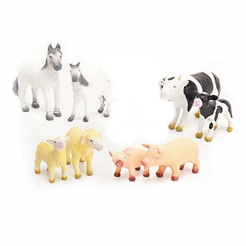 Naturkautschuk Kleinkindspielzeug Farmtiere (8-er Set) , ab 12 Monaten Pferd & Pony, Kuh & Kalb, Schaf und Lamm, Schwein und Ferkel