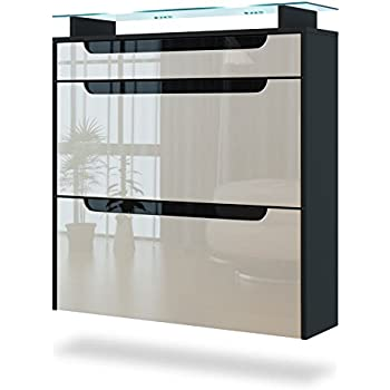 Hanging shoe cabinet malea carcass in white matt front for Black kitchen carcasses