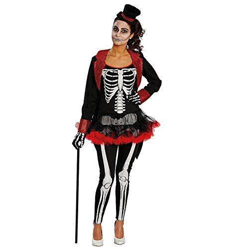 Kostüm Dark Bone Lady Gr. 32 - 40 Skelett La Catrina Gerippe Tänzerin Halloween Fasching Karneval 38 (Catrina Skelett Kostüm)