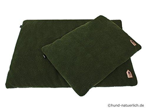 Hund-natuerlich Faserpelz Hundedecke Hundebett Thermo in oliv grün, in 2 Größen (M 70cm x 50cm)