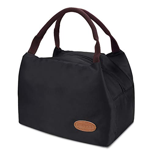 UBAYEE Lunchtasche Isoliert Herren, Damen und Kinder, Wasserdicht und Leichte Lunchbag Mittagessen Tasche Thermotasche Isoliertasche für die Arbeit und die Schule (Schwarz-1) - Für Büro Damen-uhr
