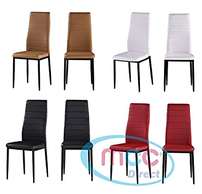 Set of 2 Faux Leather Dining Chairs Metal Chairs home & commercial restaurants - cheap UK light shop.