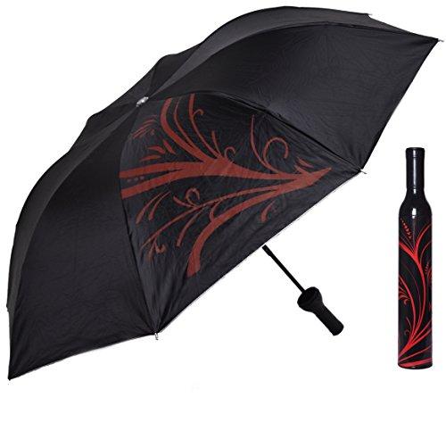 Preisvergleich Produktbild Neuheit! Regenschirm schwarz - rot, faltbarer praktischer Taschenschirm. Ø 98 cm, klein, leicht & kompakt. Reiseschirm Damenschirm Herrenschirm . Ideal als Geschenk oder Scherzartikel.