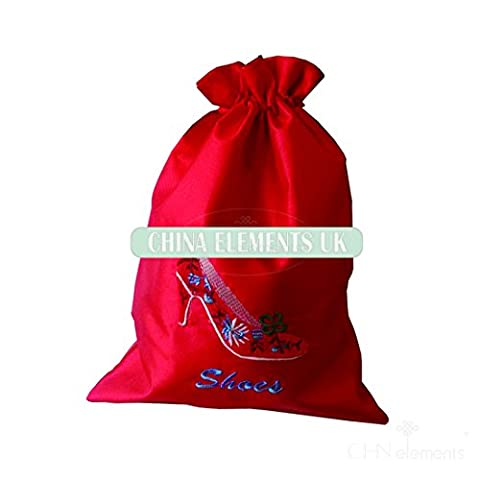 Silk Satin Bag Gym Shoe Bag with Drawstring Closure Embroidered Shoe Pattern on-RED by CHN Elements.accessories