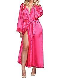 EULAGPRE Mujeres Raso de Seda Largo Boda Novia Dama de Honor Bata Pijama Feminino Baño
