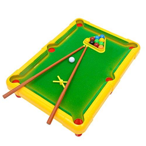 Homyl Mini Billardtisch Brettspiele Set, inkl. Billardtische, Dreieck-Rack, Billard Queues und Billardkugeln. - Gelb