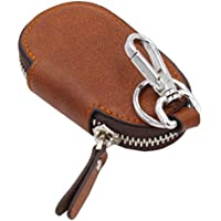 Liangery Luxury-Custodia in vera pelle per chiavi da auto, con portachiave, concava, con cerniera marrone