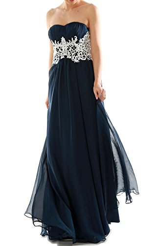 MACloth Women's Strapless Long Lace Chiffon Prom Dress Formal Party Ball Gown Champagner