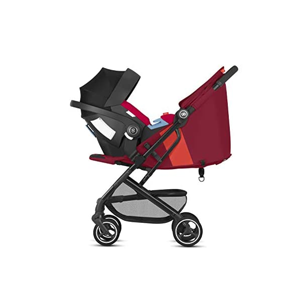 gb Gold Qbit+ All-City Compact Pushchair, Lie-Flat Reclining Seat, from Birth to 17 kg (Approx. 4 Years), Black Frame, Rose Red GB High-quality and stable compact pushchair for newborns up to approx. 17 kg (approx. 4 years) with one-hand folding mechanism and full flat lying position Optimum comfort for children of all sizes: One-hand adjustable backrest and leg rest, Head and shoulder pads for extra comfort, Easy pushing on flat surfaces thanks to single wheels on front and rear, Four wheel suspension, Swivelling and lockable front wheels Simple folding with one-hand folding mechanism to compact travel size of L:27x W:43x H:58 cm, Can be used as 3-in-1 travel system with separately available adapter for gb or CYBEX infant car seats and Cot to Go pushchair attachment 5