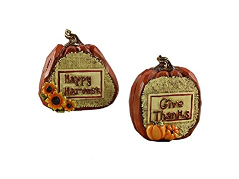Young's Inc Young's Happy Harvest & Give Thanks Resin Pumpkin 2 Piece Figure Set, Multi, 5-Inch,