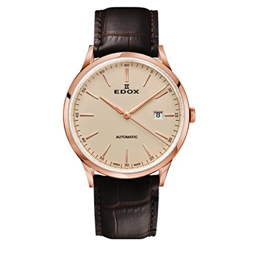 EDOX Men's Analogue Automatic Watch with Leather Strap 80106-37RC-BEIR