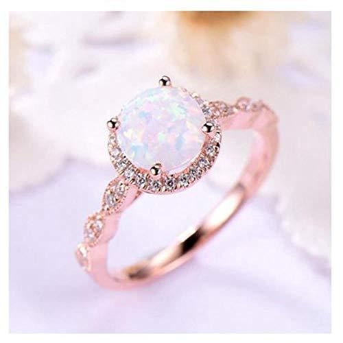 XCWXM Ringe Ringe für Runde Feueropalringe Für Frauen Roségold-Verlobungsringe In Kupfer-Versprechen-Ring 6 (Versprechen Diamant Lila Ring)