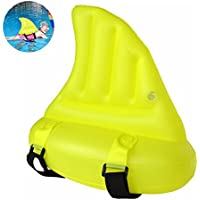 Flotadores de Aletas de Tiburón- Aleta de Tiburón de Nadar Ayuda para la Piscinaa Gruesa Equipo de Entrenamiento de PVC para Principiante de Fin Piscina de Inflables Anillo de Natación de Niños - Amarillo