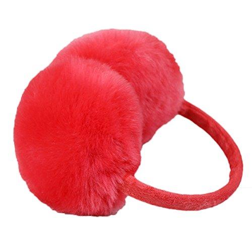 Nanxson(TM) Cache-oreilles Fourrure Unicolore Chaud Pour Femmes EZ0008 Rouge