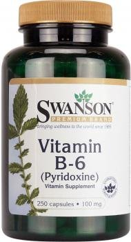 Swanson - Vitamine B6 (Pyridoxine HCI) 100mg, 250 gélules - Complément Alimentaire sous Forme Bio-Active (Vitamin B-6 capsules - Phosphate Pyridoxin Supplement)