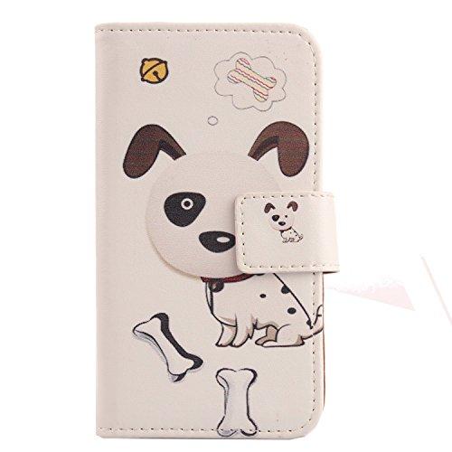 Lankashi PU Flip Leder Tasche Hülle Case Cover Schutz Handy Etui Skin Für Doogee Voyager2 Dg310 Dog Design