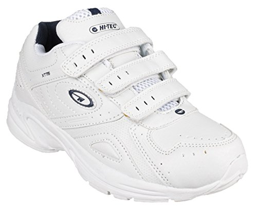 Hi-Tec Xt115 Ez Jnr, chaussures de sport garcon, Junior Size Shoe- 12 UK, Colors- White/Silver/Navy