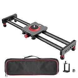 Neewer Mini Kohlefaser Kamera/Handy Slider Dolly Schiene Schieber, 40cm Rail Slider Schiene Kamerawagen für Smartphone, DSLR Kamera, Camcorder