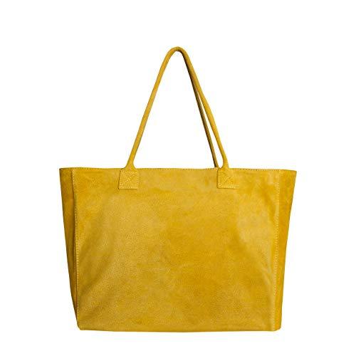 Leder-tragetasche (SKUTARI original Damen Wildleder Shopper Luciana   Handtasche mit eingenähter Innentasche   Beuteltasche Tragetasche Leder   52 x 29 x 18 cm (Giallo))