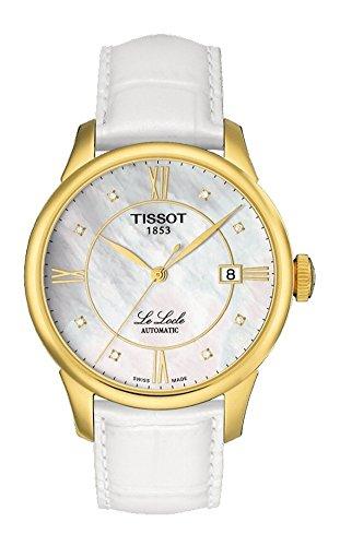 TISSOT - Montre Mixte Tissot Le Locle Diamants Automatique T41545386 Bracelet Cuir Blanc - T41545386