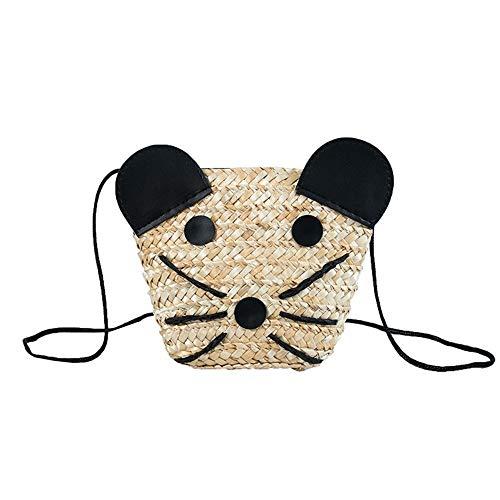 Frauen Top Griff Tasche Woven Bag Straw Bag Reine handgemachte Weben Umhängetasche Umhängetasche für Damen (Farbe : Cream Color, Größe : 18 * 5 * 13.5 cm) -