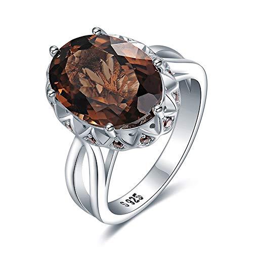 Anelli Yuan Ou Enorme Genuino Smoky Quartz Ring 925 Sterling Anelli d'Argento per Le Donne Fidanzamento Anello Argento 925 Pietre Gioielli 7 Come Mostrato