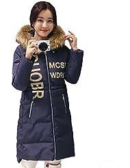 Griffin- Winter Collar del espesamiento encapuchado Pelo grande en el abrigo de la sección delgada larga del ocio femenino de algodón Ropa (cinco colores, cuatro tamaños para elegir) ( Color : Azul , Tamaño : XL )