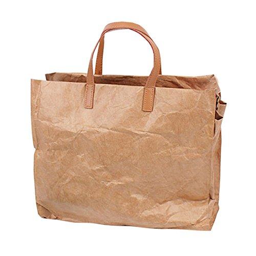 Artone Weinlese Wasserdicht Reißfest Kraftpapier Crossbody-Tasche Schultertaschen Einkaufen Tragetasche Handtasche mit Abnehmbarer Schulterriemen Khaki Khaki