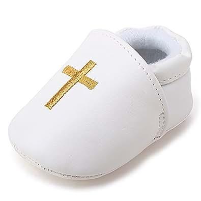 DELEBAO Scarpe Primi Passi Bambini Scarpe Battesimo del Bambino Bianco Scarpe morbide Sole Bambino (scarpe1,0-6 Mesi)
