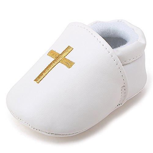 Delebao Baby Taufe Schuhe Babyschuhe Taufschuhe Lauflernschuhe Kinderschuhe Weiß Weiche Sohle Leder PU Kleinkind für 0-12 Monate (Schuhe Leder Sohle Kleinkind)