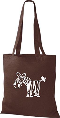 Shirtstown Stoffbeutel Tiere Zebra Braun