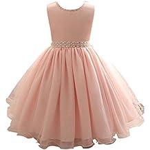 63174b133 Moollyfox Niña Vestido Flor Princesa Sin Mangas Fiesta Formal Boda Vestidos  De Dama De Infantil