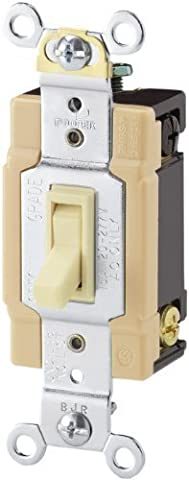 Cooper Wiring Devices 1242-7A-SP-L 15-Amp, 120-Volt Standard Grade 4-Way Framed Toggle AC Quiet Switch, Almond by Cooper Wiring