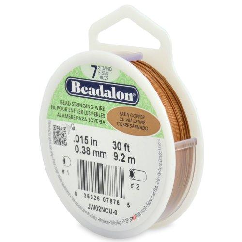 Beadalon Gummischlauch für Schmuckdraht, 0,38 mm Durchmesser, Rolle mit 9,2 m, 7 Strang, Draht, Satin, Farbe: Kupfer (Beadalon 7 Strang)