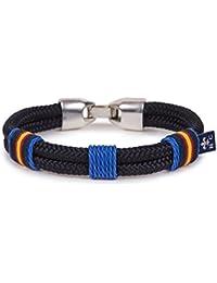 46b25205ef40 SoloGemelos - Pulsera Cordón Náutico Azulon Con Bandera - Azul