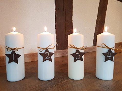z Zahlen 1 - 4 in Form eines Sternes - Wunderschöner Rost-Bastel-Artikel für einzigartige Adventskerzen (Einzigartige Weihnachten Deko-ideen)