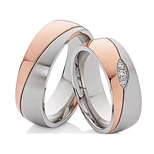 2 Eheringe Trauringe Verlobungsringe Hochzeitsringe aus Edelstahl Bicolor rosegold silbern mit 3 Zirkonia und Laser Gravur