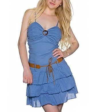 Bandeau Mini Kleid Sommerkleid Volants Baumwolle Strandkleid in Blau, Größe:One Size 34-38
