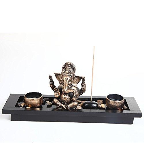 London Boutique Ganesha-Dekoration mit Elefantenkopf, Kerzenhalter, Geschenk-Set (HY1418)