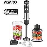 AGARO Marvel 800-Watt Hand Blender & Chopper, Dual Mode with Speed Regulator (Black) (Grey/Black)