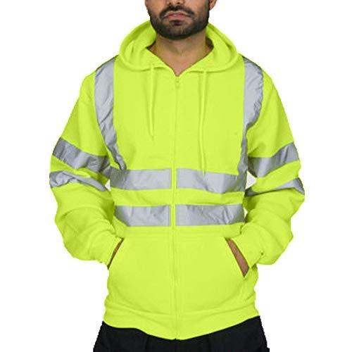 Strungten Kapuzen-Sweatshirt mit hoher Sichtbarkeit, reflektierendes Band, Arbeits-Sweatshirt, Sicherheitsjacke, Arbeitskleidung mit Reisverschluss, Übergröße Warnjacke Warnschutzjacke Arbeitsjacke -